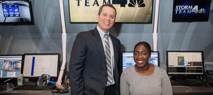 Hope Osemwenkhae and her mentor, Raphael Miranda, during her internship on the NBC weather team.